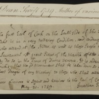 Autograph memorandum, signed, concerning St. Patrick's Cathedral, 21 May 1739 [1729]
