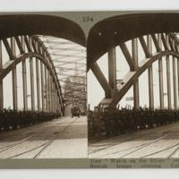"New ""Watch on the Rhine"" set by the Allies ; British troops crossing Cologne Bridge"