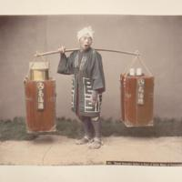 Street amazake seller, a kind or drink made of fermented rice