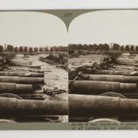 Spoils of war, hundreds of captured enemy guns of all calibres in an artilery pack, Brussels