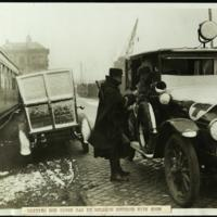 British Red Cross car in Belgium covered with snow