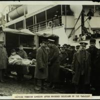 "British Tommies looking after wounded Belgians on the ""Agadir"""