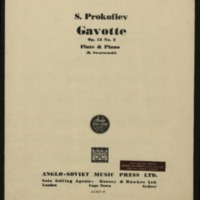 Gavotte, op. 12, no. 2 : flute & piano / S. Prokofiev ; transribed for flute and piano by H. Swarsenki.