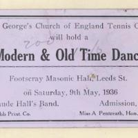 St. George's Church of England Tennis Club modern & old time dance, 9th May 1936