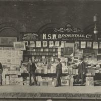 N.S.W. Bookstall Co., bookstall on train platform. Sydney, ca. 1890s