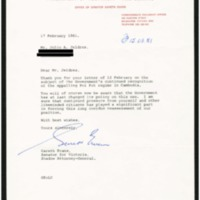 A letter from Australian Senator Evans acknowledging a letter from Ambassador Jeldres on the issue of the recognition of the Pol Pot regime