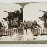 Casualties back from the line pass tanks crippled in Battle of Tanks, Villers-Bretonneux