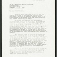 A letter from Ambassador Jeldres to the Australian Prime Minister raising concern that after Australia's de-recognized the Pol Pot regime in Cambodia, it stills support its seating at the UN.